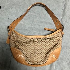 Cute small hobo style Coach leather/canvas bag